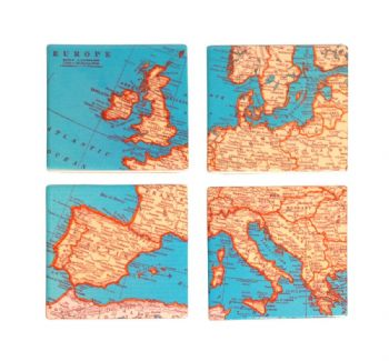Sass & Belle - Vintage Map - Coasters (4pk)